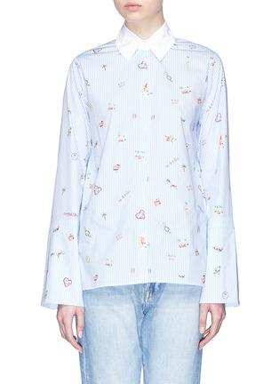 Main View - Click To Enlarge - Mira Mikati - 'Venice Beach' graphic print stripe poplin shirt