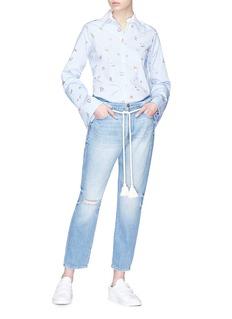 Mira Mikati 'Venice Beach' graphic print stripe poplin shirt