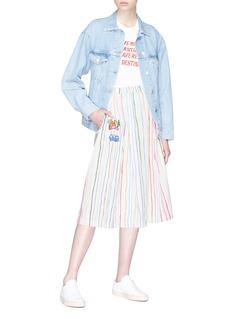 MIRA MIKATI Crayon标语及汽车拼贴条纹半裙