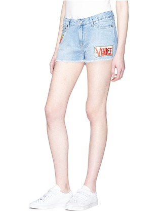 Front View - Click To Enlarge - Mira Mikati - 'Venice Beach' graphic appliqué denim shorts