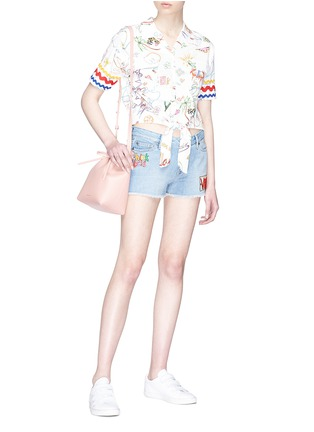 Figure View - Click To Enlarge - Mira Mikati - 'Venice Beach' graphic appliqué denim shorts