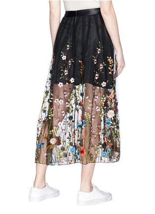 Back View - Click To Enlarge - Jonathan Liang - Floral embroidered mesh midi skirt