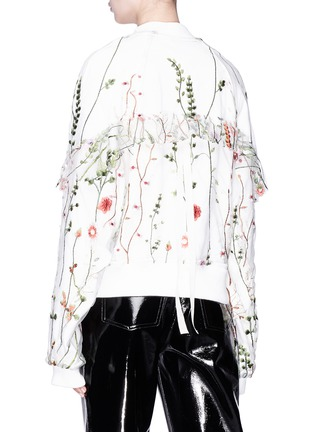 Back View - Click To Enlarge - Jonathan Liang - Ruffle sleeve floral embroidered mesh reversible bomber jacket