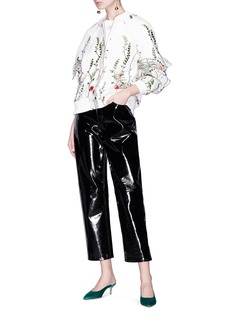 Jonathan Liang Ruffle sleeve floral embroidered mesh bomber jacket