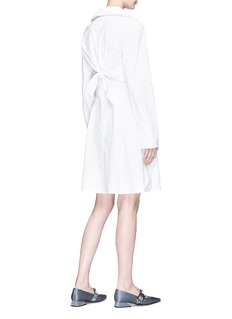 Jonathan Liang Two-in-one ruffle cape overlay poplin dress