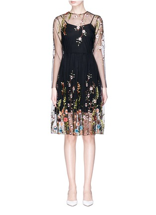 Main View - Click To Enlarge - Jonathan Liang - Floral embroidered organdy dress