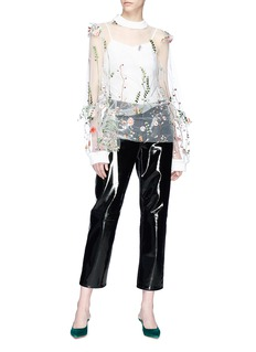 Jonathan Liang Floral embroidered mesh top