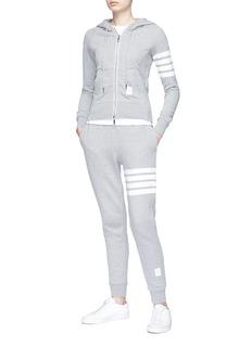 Thom Browne Stripe sleeve cotton zip hoodie