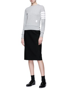 Thom Browne Stripe sleeve cotton sweatshirt