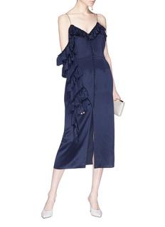 Magda Butrym 'Pozallo' single sleeve ruffle silk slip dress