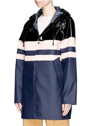 Front View - Click To Enlarge - Stutterheim - Stripe panelled unisex raincoat