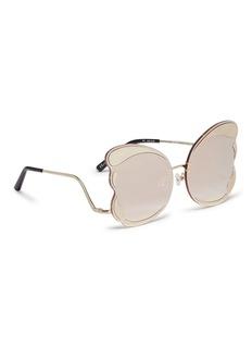 Matthew Williamson Rimless oversized metal mirror butterfly sunglasses