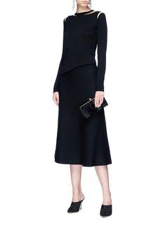 Oscar de la Renta Tulle cutout wool sweater