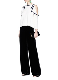 Oscar de la Renta Ribbon cold shoulder silk-cotton knit top