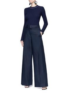 Oscar de la Renta Belted cotton twill wide leg pants