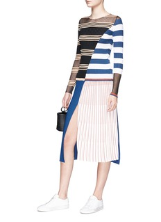 MRZ Colourblock stripe rib knit sweater