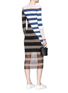 MRZ Colourblock stripe rib knit midi dress