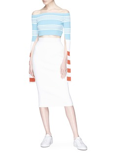 MRZ Split sleeve stripe rib knit cropped off-shoulder top