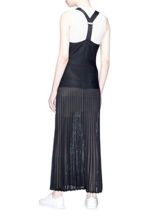 MRZ Buckle strap plissé pleated knit maxi dress