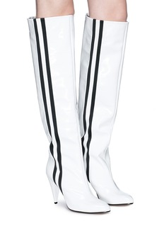Alchimia di Ballin 'Scorpi' sports stripe patent leather knee high boots