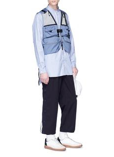 meanswhile Mandarin collar placket stripe shirt