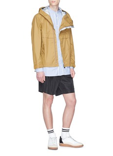 meanswhile Belted collar zip outseam hooded anorak