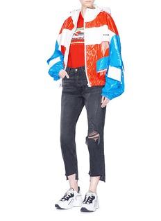 MSGM Cutout sleeve colourblock oversized jacket