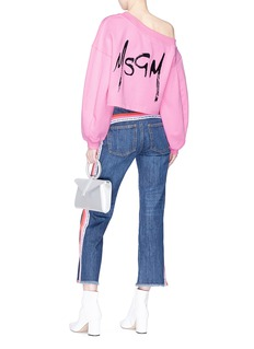 MSGM Logo print one-shoulder sweatshirt
