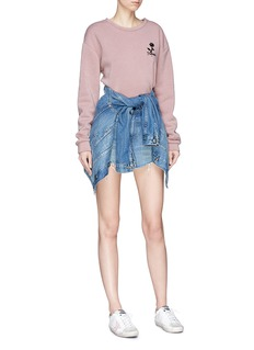 Topshop 'Promises' floral embroidered cropped sweatshirt