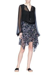 Isabel Marant 'Myles' floral print asymmetric silk voile skirt