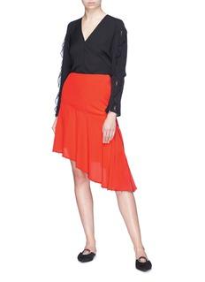 Sonia Rykiel Asymmetric faux pearl hem silk crepe skirt
