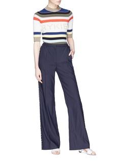 Sonia Rykiel Mother-of-pearl logo stripe cashmere blend sweater