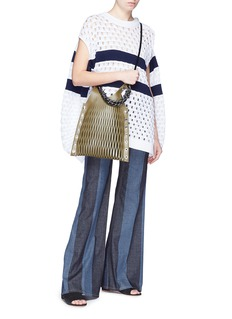 Sonia Rykiel Convertible sleeve oversized stripe open knit sweater