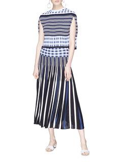 Sonia Rykiel Check waist panel stripe pleated knit skirt