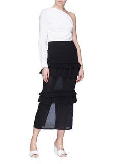 Georgia Alice 'Goldie' tiered ruffle virgin wool crepe skirt