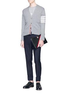 Thom Browne Intarsia stripe cashmere V-neck cardigan