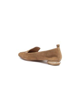 Detail View - Click To Enlarge - Nicholas Kirkwood - 'Beya' metal heel suede skimmer loafers