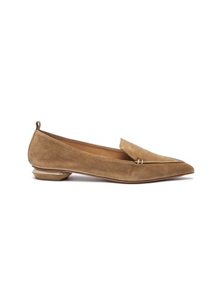 Main View - Click To Enlarge - Nicholas Kirkwood - 'Beya' metal heel suede skimmer loafers