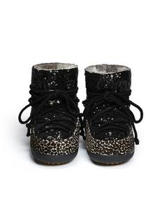 INUIKII Leopard sequin sheepskin shearling boots