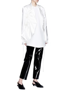Elissa McGowan 'Raw Energy' drawstring oversized satin blazer