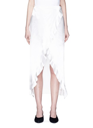 Main View - Click To Enlarge - Elissa McGowan - 'Raw Wave' ruffle satin mock wrap skirt