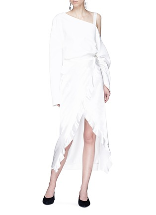 Figure View - Click To Enlarge - Elissa McGowan - 'Raw Wave' ruffle satin mock wrap skirt