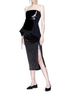 Elissa McGowan 'Rue Du Paradis' ruched split side satin skirt