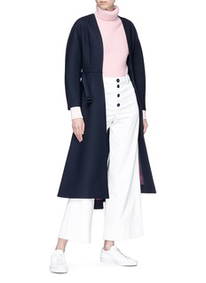 Comme Moi Belted cocoon sleeve coat