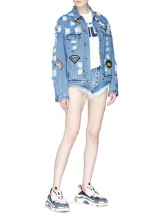 Forte Couture Beaded patch distressed denim jacket