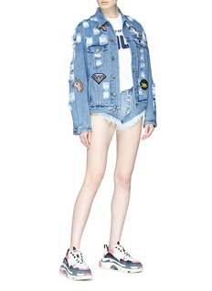 Forte Couture Faux pearl button frayed cuff denim shorts