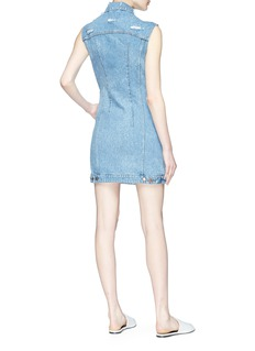 Forte Couture Faux pearl embellished sleeveless denim dress