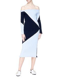 Comme Moi Colourblock geometric intarsia rib knit skirt