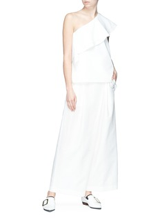 Comme Moi Ruffle one-shoulder top