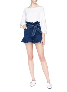 Comme Moi Belted ruffle denim paperbag shorts